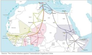 Map of Africa- Europe migration. The Global  Initative against Transnational Organized Crime